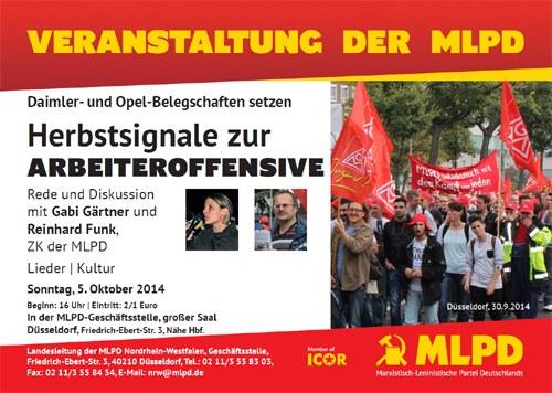 """""""Herbstsignale zur Arbeiteroffensive"""" - Veranstaltung in Düsseldorf"""