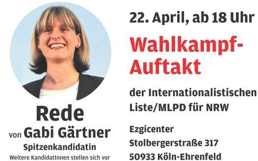 Wahlkampf nimmt Fahrt auf. BILD berichtet über den Wahlkampf der MLPD in Nordrhein-Westfalen