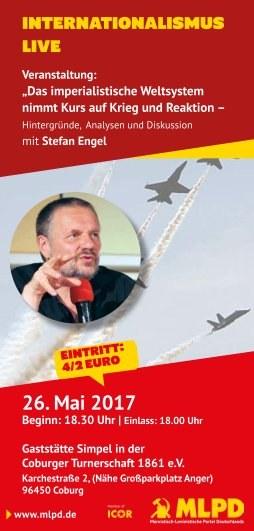 """Veranstaltung in Coburg:   """"Internationalismus  Live"""" mit Stefan Engel"""