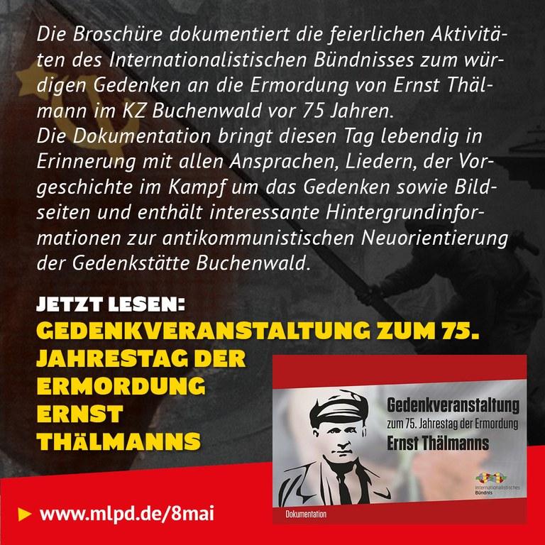 Buchtipp: Gedenkveranstaltung zum 75. Jahrestag der Ermordung Ernst  Thälmanns