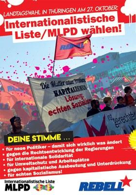 Landtagswahl in Thüringen am 27.10.: Internationalistische Liste/MLPD wählen!