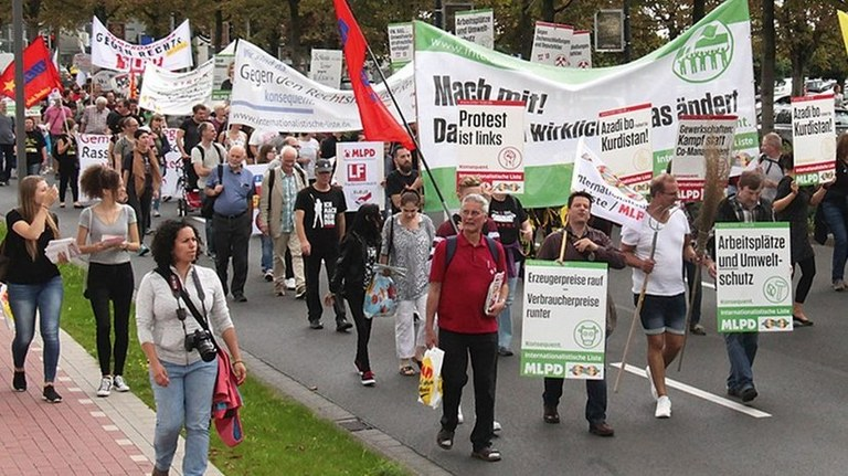 The lines are clear in the election campaign: Internationalist List/MLPD – With our slogan 'Protest is left' WE are the clear counterpole to AfD and all forces that have swung to the right