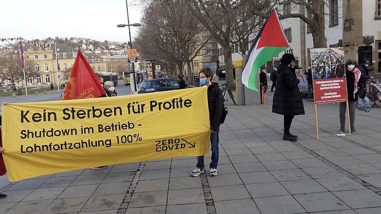 Bündnis-Kundgebung in Stuttgart: Für einen energischen Shutdown, um die Pandemie endlich in den Griff zu bekommen!