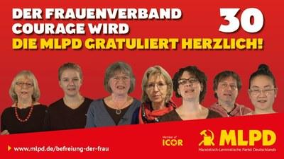 Der Frauenverband Courage wird 30 -  die MLPD gratuliert herzlich!